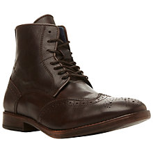 Buy Dune Cobbler Leather Brogue Boots, Dark Burgundy Online at johnlewis.com