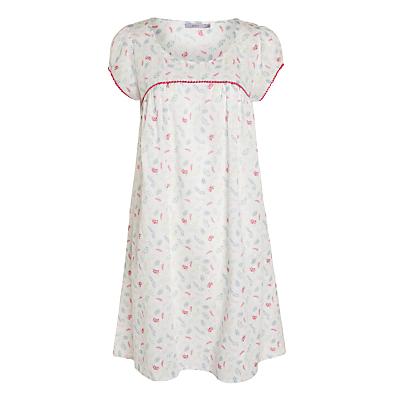 John Lewis Floral Sprig Dobby Nightdress, White / Multi