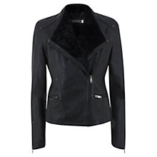 Buy Mint Velvet Faux Fur Collar Leather Biker Jacket, Black Online at johnlewis.com