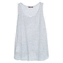 Buy Violeta by Mango Stripe Linen Vest Top, White/Blue Online at johnlewis.com