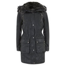 Buy Mint Velvet Faux Fur Quilt Lined Waxed Parka Online at johnlewis.com