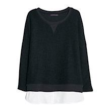 Buy Violeta by Mango Cotton Shirt Hem Jumper, Navy Online at johnlewis.com