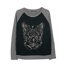 Buy Violeta by Mango Beaded Bi-colour Jumper, Navy/Grey Online at johnlewis.com