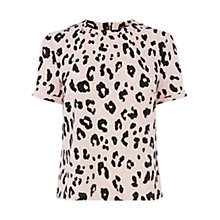 Buy Warehouse Animal Print Top, Pale Pink Online at johnlewis.com