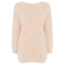 Buy Warehouse Fluffy V-Back Jumper, Light Pink Online at johnlewis.com
