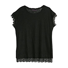 Buy Violeta by Mango Blonde Lace Trim Linen T-Shirt, Black Online at johnlewis.com