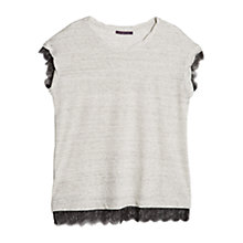 Buy Violeta by Mango Blond Lace Linen T-shirt, Grey Online at johnlewis.com