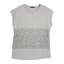 Buy Violeta by Mango Contrast Lace T-shirt, Grey Online at johnlewis.com