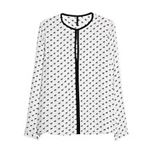 Buy Mango Dog Print Blouse, Natural White Online at johnlewis.com