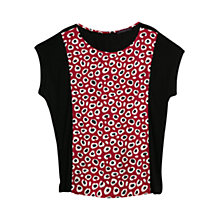 Buy Violeta by Mango Printed Front T-Shirt, Red/Black Online at johnlewis.com