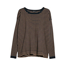 Buy Mango Round Neck Striped Sweater, Navy Online at johnlewis.com