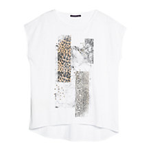 Buy Violeta by Mango Stud Printed T-Shirt, White Online at johnlewis.com