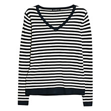 Buy Mango V-Neck Striped Jumper, Navy Online at johnlewis.com