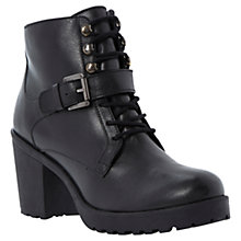 Buy Dune Plazza Leather High Heel Lace Up Buckle Ankle Boots, Black Online at johnlewis.com