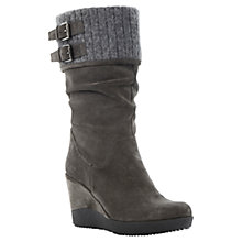 Buy Dune Roverr Suede High Wedge Heel Buckle Calf Boots Online at johnlewis.com
