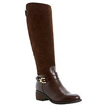Buy Dune Tina Strap and Buckle Trim Knee High Boots, Brown Online at johnlewis.com