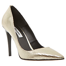 Buy Dune Azura Ultra Slim High Heel Court Shoes, Gold Online at johnlewis.com