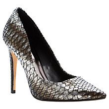 Buy Dune Brook Ultra Slim Heel Extreme Pointed Toe Court Shoe , Pewter Online at johnlewis.com
