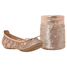 Buy Dune Manhattan Fold-Up Sequin Ballerinas, Champagne Online at johnlewis.com