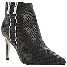 Buy Dune Namedrop Leather Double Zip Heeled Ankle Boots, Black Online at johnlewis.com