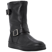Buy Dune Racket Leather Faux Fur Boots, Black Online at johnlewis.com