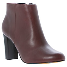 Buy Dune Nextdoor Leather Block Heeled Ankle Boots, Burgandy Online at johnlewis.com