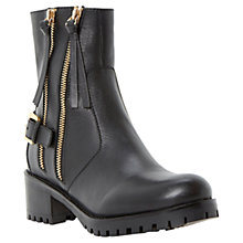 Buy Dune Pinder Leather Double Zip Cleated Sole Biker Boots Online at johnlewis.com