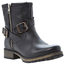 Buy Dune Promiss Leather Buckle Detail Biker Ankle Boots, Black Online at johnlewis.com