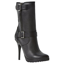 Buy Dune Ribbon Ultra Slim High Heel Calf Boots, Black Online at johnlewis.com