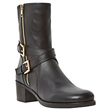 Buy Dune Rachelle Leather Buckle Trim Mid Block Heel Biker Boots Online at johnlewis.com