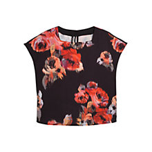 Buy Mango Floral Printed Blouse, Black Online at johnlewis.com
