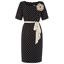 Buy Jacques Vert Spot Crepe Belted Dress, Black Online at johnlewis.com