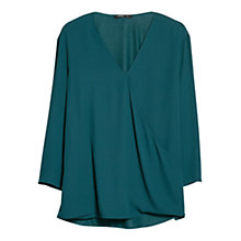 Buy Mango Wrap Neckline Blouse, Dark Green Online at johnlewis.com