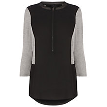 Buy Warehouse Mixed Zip Front Rib Blouse, Black Online at johnlewis.com