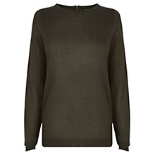 Buy Warehouse Mini Zip Back Crew Neck Jumper, Khaki Online at johnlewis.com