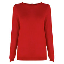 Buy Warehouse Mini Zip Back Crew Jumper, Bright Red Online at johnlewis.com