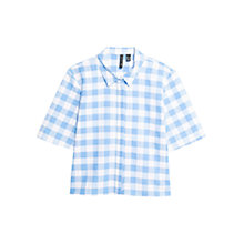 Buy Mango Gingham Check Shirt, Medium Blue Online at johnlewis.com