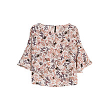 Buy Mango Floral Print Blouse, Light Pastel Brown Online at johnlewis.com
