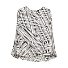 Buy Mango Printed Monochrome Blouse, Natural White Online at johnlewis.com