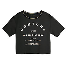 Buy Mango Printed Front Boxy T-Shirt, Black Online at johnlewis.com