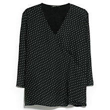 Buy Mango Polka-Dot Wrap Blouse, Black Online at johnlewis.com
