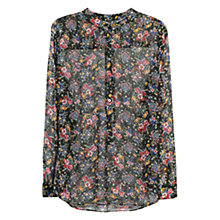 Buy Mango Floral Print Shirt, Black Online at johnlewis.com