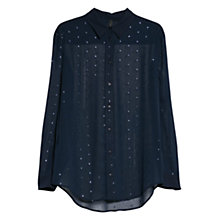 Buy Mango Metallic Detail Shirt, Medium Blue Online at johnlewis.com