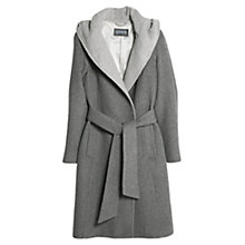 Buy Mango Hooded Wool Blend Coat, Medium Grey Online at johnlewis.com