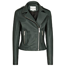 Buy Reiss Sheena Biker Jacket, Green Online at johnlewis.com