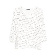 Buy Mango Polka Dot Wrap Blouse, Natural White Online at johnlewis.com