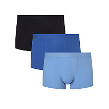 Buy John Lewis Organic Cotton Trunks, Pack of 3, Blue Online at johnlewis.com