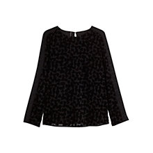 Buy Mango Velvet Heart Blouse, Black Online at johnlewis.com