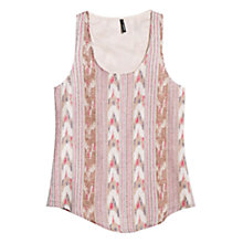 Buy Mango Ikat Linen Blend Top, Natural White Online at johnlewis.com