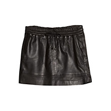 Buy Mango Drawstring Leather Skirt, Black Online at johnlewis.com